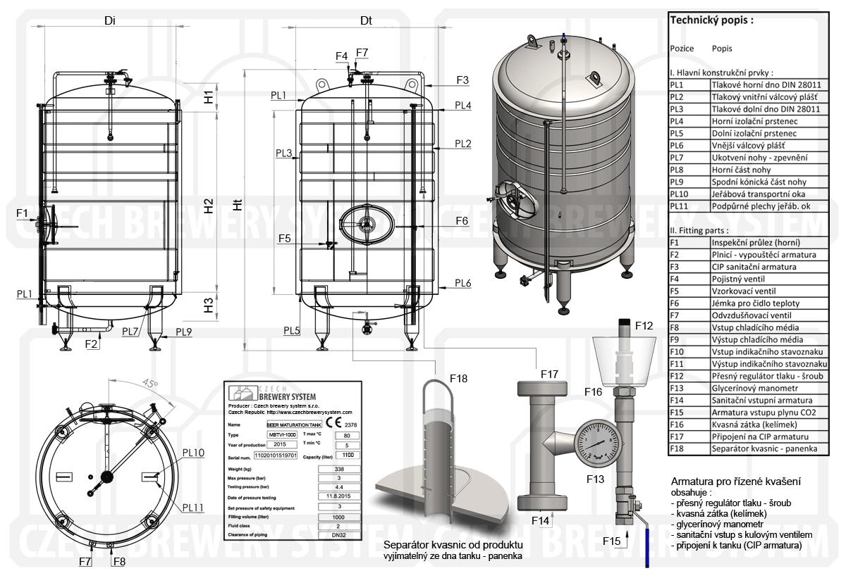 Ležácký přetlačný tank, izolovaný, chlazený vodou nebo glykolem - popis