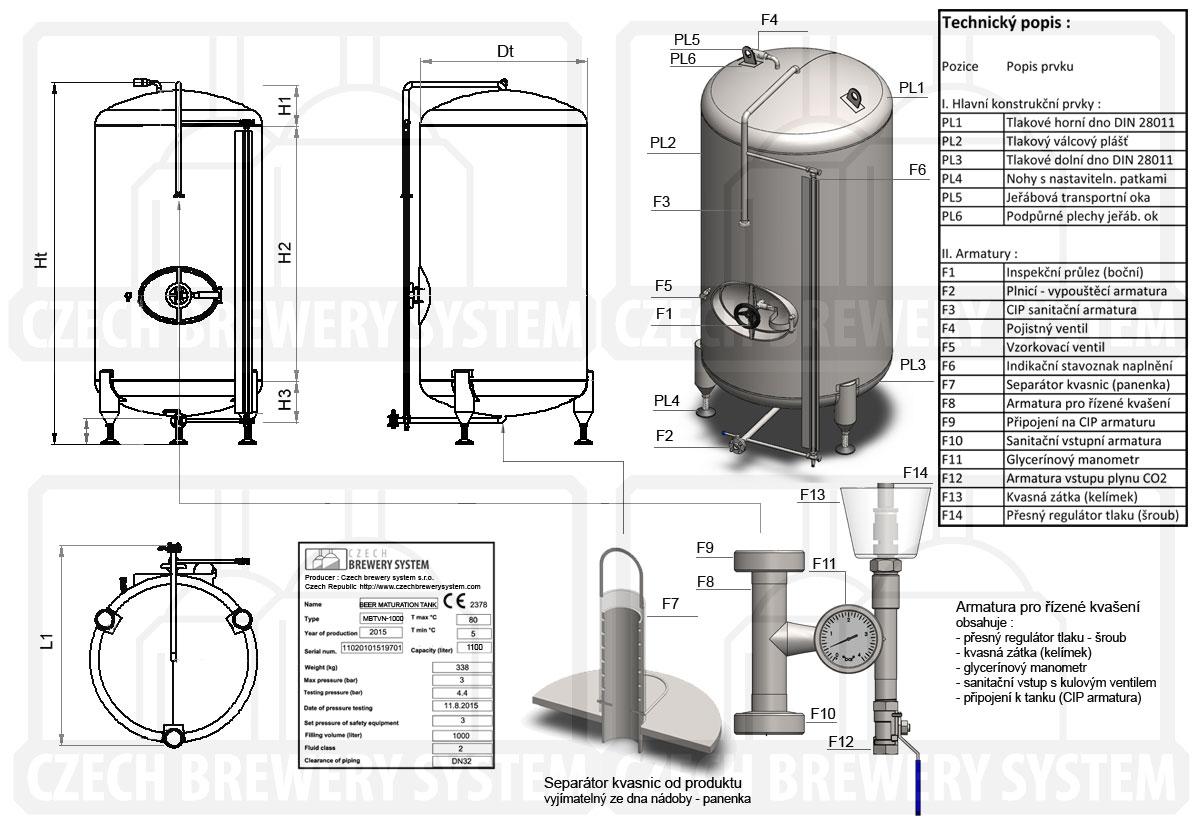 Ležácký přetlačný tank, neizolovaný, chlazený vzduchem - popis